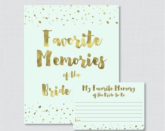 Favorite Memories of the Bride To Be Activity - Printable Mint and Gold Bridal Shower - Mint and Gold Faux Foil Bridal Activity - 0010-M