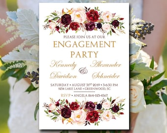 Engagement Party Wedding Template Printable, Bridal Shower Invitation Template, Engagement Party Invitation Printable, Marsala Invitation