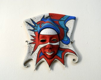 mask - ceramic mask - wall decor - sculpture - art - ceramic art - face - ceramic