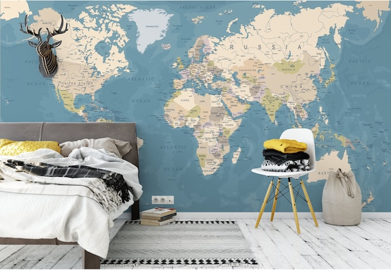 World map temporary wall mural political map removable world map temporary wall mural political map removable wallpaper globe self adhesive wall mural m6654 gumiabroncs Image collections