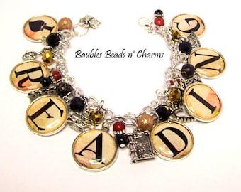 I Love Reading Charm Bracelet, Reading Jewelry, Literary Charm Bracelet, Literary Necklace, I Love Reading Necklace, Love to Read