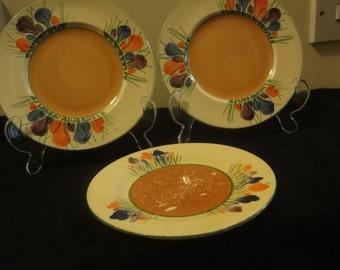Clarice Cliff  tea plates x 3  in CROCUS pattern  2 x dia 16cm 1 x dia 15cm