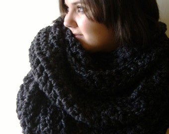 Large Infinity Cowl Warmer Scarf Charcoal Grey