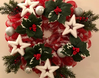 Star Wreath, Christmas Wreath, Holiday Wreath, December Wreath, Front Door Wreath, Christmas Home Decor, Winter Wreath, Red Tinsel Wreath