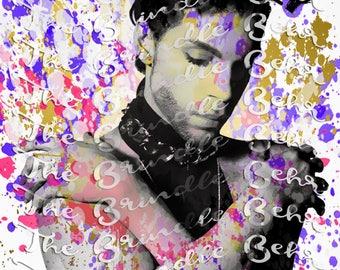 Prince Portrait | Prince Splatter Digital Download Print | Inspired Download Prints