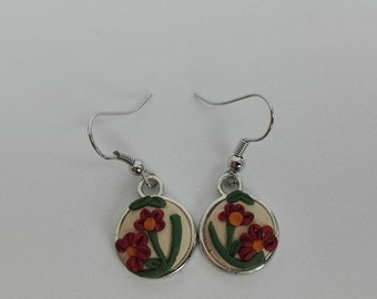 Polymer clay applique technique floral earrings, floral applique earrings, nature inspired jewelry, floral earrings, polymer clay jewelry