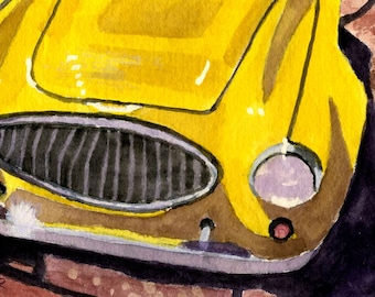 Vintage Yellow Roadster Sports Car OSWOA original watercolor Painting 4 x 6