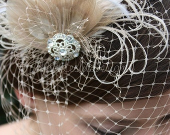 As Seen in Style Me Pretty -  Champagne Birdcage Veil with Feather Fascinator