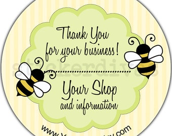 Honey Bee Personalized Product Shop Thank You Favor Address Glossy Labels HoneyBee with Stripes Design Round Stickers