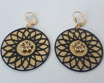 Gold sequin black rosette earrings