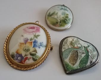Hand painted porcelain brooches Limoges West Germany.