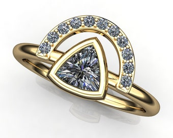 tempest ring - trillion cut NEO moissanite ring, 14k yellow gold stacking ring