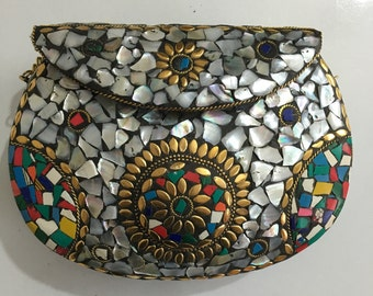 metal bag ethnic clutch tribal Wallet vintage purse boho clutch mosaic bag birthday  gift Mother's Day gift