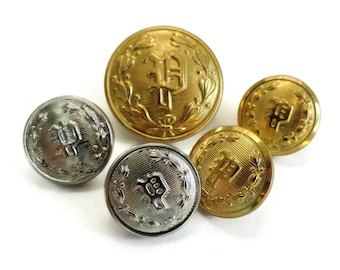 Monogram P Vintage Metal Buttons Gold or Silver - Police Uniform Buttons for Jewelry Beads Sewing Knitting