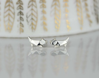 Stunning Silver Origami Cat Earrings