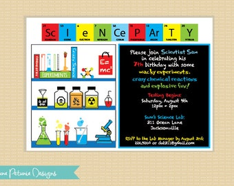 Science Party Invitation . Printable