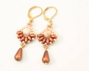 Woven earrings, Red Earth fan shape terracotta, gold, Pearl drop miracle