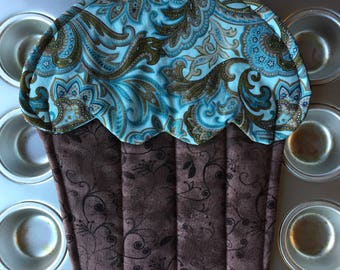 Aqua Cupcake Pot Holder Paisley Oven Mitt Brown Hot Pad