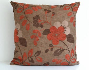 22x22 Brown Terra Cotta Modern Decorative Home Decor Floral Throw Pillow Cushion Cover - Throw Pillow - Accent Pillow - Toss Pillow