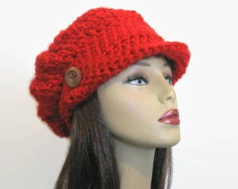 Red News boy cap Red Crochet Slouchy Newsboy crochet newsboy Fire Engine Red newsboy Cap with Visor Knit Newsboy Red crochet hat with visor