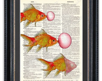 Goldfish with Bubble Gum, Dictionary Art Print, Goldfish Art, Goldfish Wall Art, Goldfish Poster, Goldfish Decor, Goldfish Print