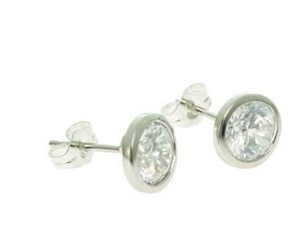 925 Sterling Silver CZ Earrings 7 mm, CZ bezel set earrings, small CZ earrings, petite earrings, silver earrings,  silver earrings, studs