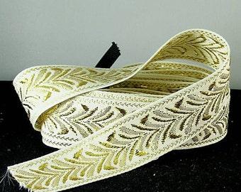 "Gold Metallic Wheat Trim - 1"" Cream - Renaissance Faire - Victorian"