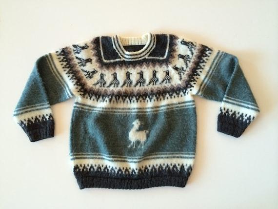 Alpaka Pullover Kids ethnische Pullover w Llama Muster