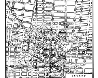 1949 Vintage Map of Detroit Michigan Print Poster