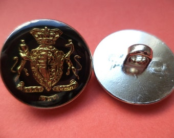 8 METAL BUTTONS gold buttons coat buttons jacket buttons black 20 mm (1267)