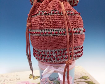 Old Elegant Antique Victorian Rose Colored Red Beaded Silky Crocheted Reticule Purse Bag