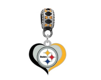 PITTSBURGH STEELERS Swirl Heart Charm Fits Large Hole European Style Bracelets