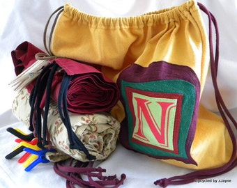 Fort Kit Upcycled Initial Drawstring Bag SET Personalized ONE Bag Two Sheets Five Clothespins Five Clamps