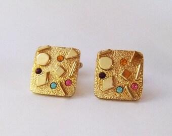 Colorful stones geometric designs pop culture 80s style Gold tone square cuff links
