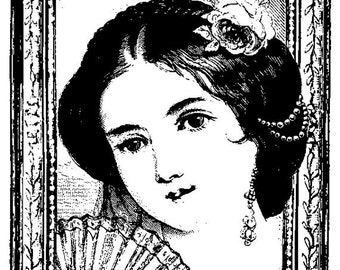 EZ Mounted Rubber Stamp Victorian 1800s Woman Portrait Altered Art Craft Scrapbooking Cardmaking Collage Supply.
