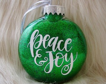 Peace and Joy Christmas Tree Ornament - Glittery Disc Ornament - Available in Red, Green, and Champagne