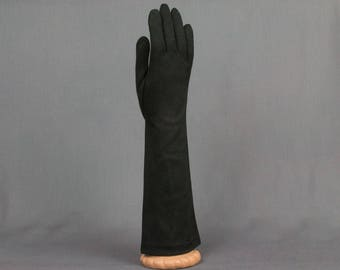 Vintage Black evening gloves 13 1/2 inches in length  3 inch palm Flared Pristine condition Elbow length black gloves