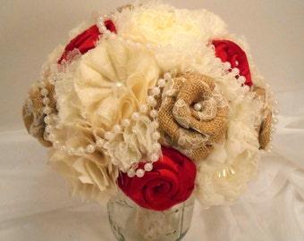 Red Burlap Wedding Bouquet, Bridal Bouquet, Vintage Bouquet, Shabby Chic Bouquet, Burlap Bouquet, Pearls. Red, Burlap and Lace Bouquet