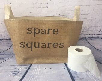 toilet paper roll storage basket , burlap storage tote, bathroom decor, spare squares