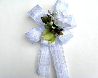 Bridal shower decoration, White wedding anniversary bow, Wedding gift for brides, Wedding shower bow, Bow for presents, Gift wrap bow