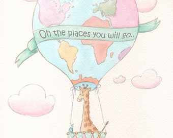 """Travel Theme Nursery Personalized New Baby Girl Gift, Giraffe In Hot Air Balloon Theme Pink, Dr Seuss Quote, 6 Sizes - 5x7"""" to 24x36"""" Poster"""