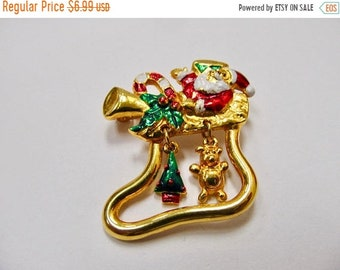 On Sale Retro Enameled Dangling Christmas Stocking Pin with Santa Item K # 316