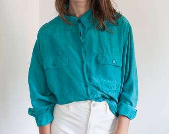 Teal silk blouse - button down long sleeve - L