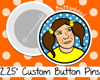 250 Custom Button Pins Bulk Promotional - 2.25 Inch (Large)