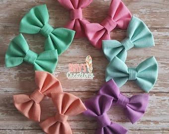 Solid Color Fabric Hairbow, Pigtail Set, Piggie Set, Fabric Bow, Girl Hairbow, Green, Pink, Blue, Peach, Purple
