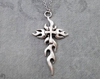 Cross Necklace LARGE Cross Charm Necklace Cross Pendant Necklace Christian Cross Gift Christian Jewelry Christian Necklace Flame Necklace