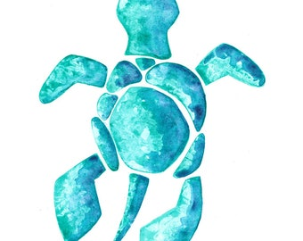 Watercolour Green Blue Turquoise Sea Turtle Print (A4, A5 and Greetings Card)