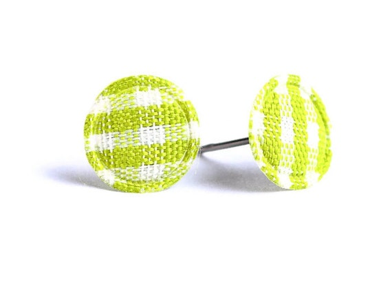 Green Lime and white plaid round dot padded fabric stud earrings (320)