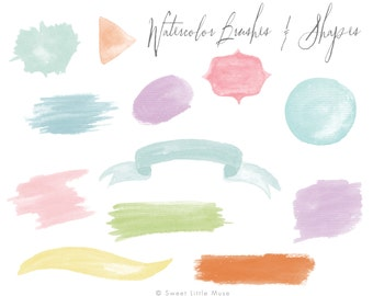 Watercolor Brushes - high res watercolor brushes - hand painted - instant download