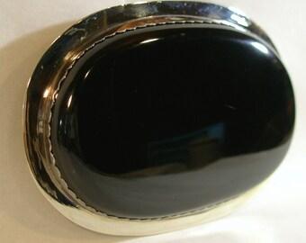 Huge Sterling on Nickle Magnificent Black Onyx Southwestern Belt Buckle and Black Leather Belt